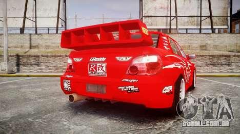 Subaru Impreza WRX STI Street Racer para GTA 4 traseira esquerda vista