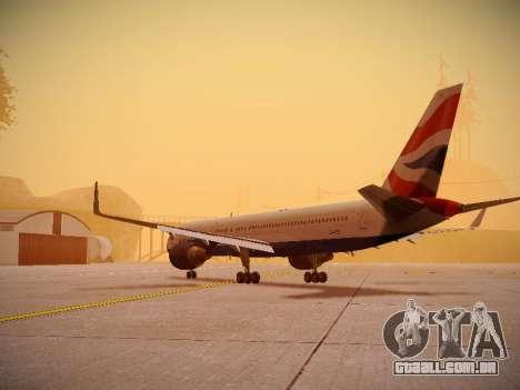 Boeing 757-236 British Airways para GTA San Andreas traseira esquerda vista