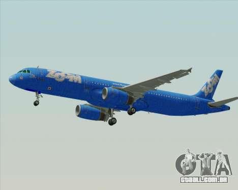 Airbus A321-200 Zoom Airlines para GTA San Andreas vista traseira