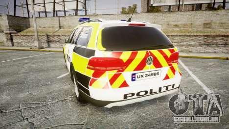 Volkswagen Passat 2014 Marked Norwegian Police para GTA 4 traseira esquerda vista