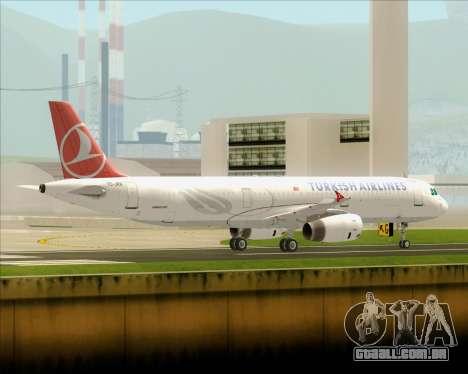 Airbus A321-200 Turkish Airlines para GTA San Andreas traseira esquerda vista