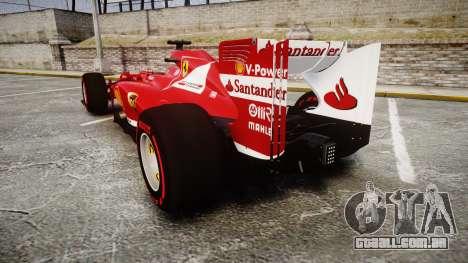 Ferrari F138 v2.0 [RIV] Alonso TSSD para GTA 4 traseira esquerda vista