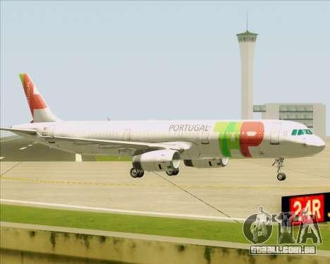 Airbus A321-200 TAP Portugal para GTA San Andreas traseira esquerda vista