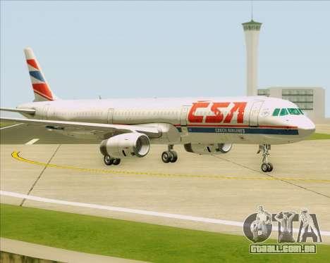 Airbus A321-200 CSA Czech Airlines para GTA San Andreas traseira esquerda vista