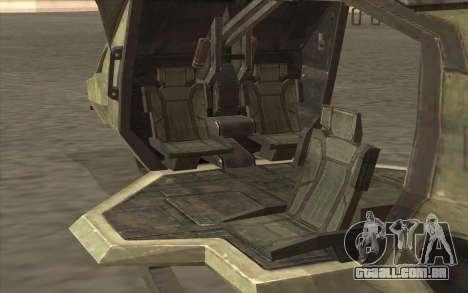 HELO4 Future Hunter para GTA San Andreas traseira esquerda vista