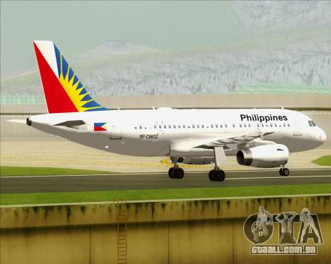 Airbus A319-112 Philippine Airlines para GTA San Andreas vista direita