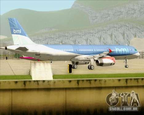 Airbus A321-200 British Midland International para GTA San Andreas vista traseira