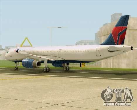 Airbus A321-200 Delta Air Lines para GTA San Andreas traseira esquerda vista