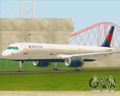 Airbus A321-200 Delta Air Lines para GTA San Andreas vista interior