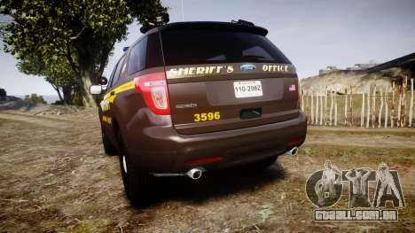 Ford Explorer 2013 Sheriff [ELS] Virginia para GTA 4 traseira esquerda vista