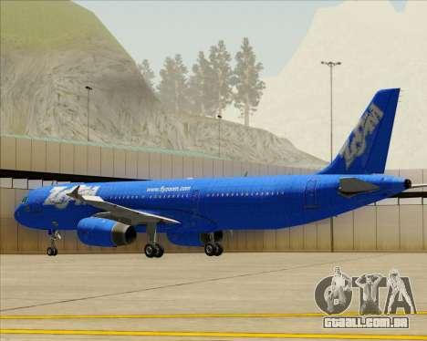 Airbus A321-200 Zoom Airlines para GTA San Andreas vista superior