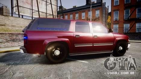 Chevrolet Suburban Undercover 2003 Black Rims para GTA 4 esquerda vista