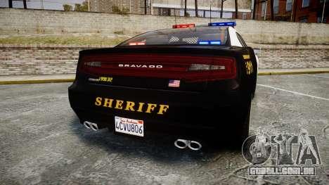 GTA V Bravado Buffalo LS Sheriff Black [ELS] para GTA 4 traseira esquerda vista