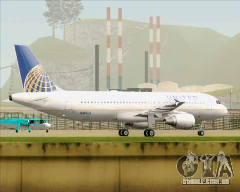Airbus A320-232 United Airlines para GTA San Andreas vista traseira