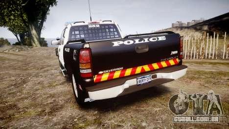 Chevrolet Silverado SWAT [ELS] para GTA 4 traseira esquerda vista