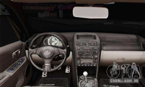 Lexus IS300 Hellaflush para GTA San Andreas traseira esquerda vista