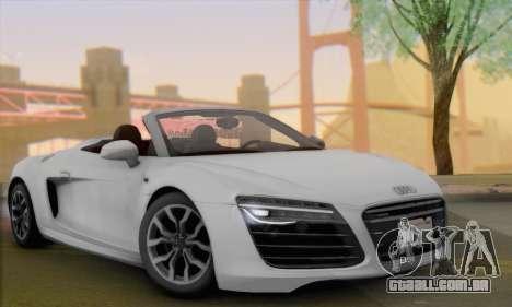 Audi R8 V10 Spyder 2014 para GTA San Andreas traseira esquerda vista