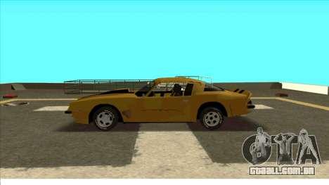 Chevrolet Camaro Z28 Bumblebee para GTA San Andreas vista traseira