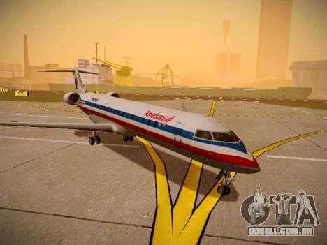Bombardier CRJ-700 American Eagle para GTA San Andreas traseira esquerda vista
