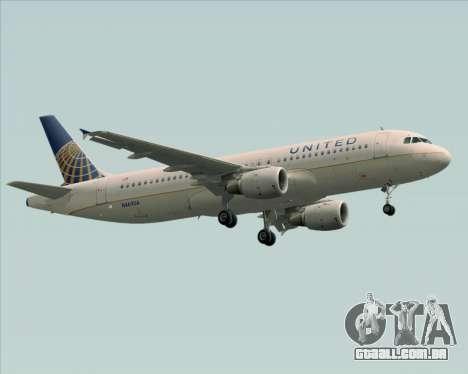 Airbus A320-232 United Airlines para GTA San Andreas esquerda vista