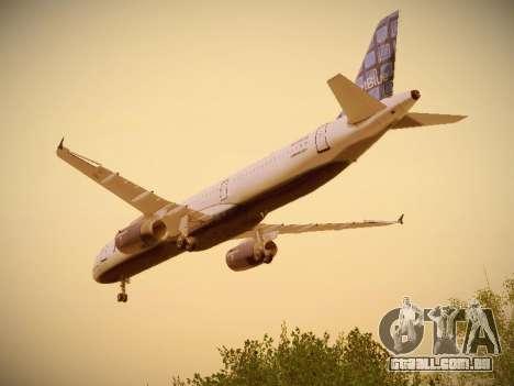 Airbus A321-232 jetBlue Blue Kid in the Town para GTA San Andreas vista inferior