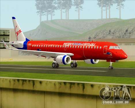 Embraer E-190 Virgin Blue para GTA San Andreas vista direita