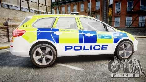 Vauxhall Astra Estate Metropolitan Police [ELS] para GTA 4 esquerda vista