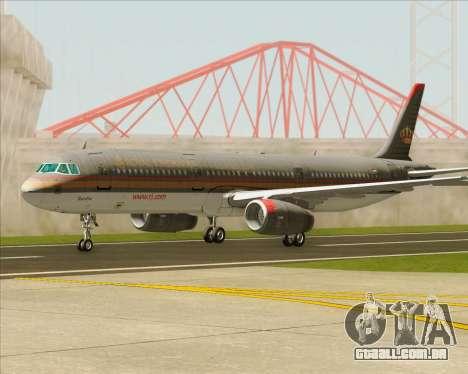 Airbus A321-200 Royal Jordanian Airlines para GTA San Andreas vista inferior