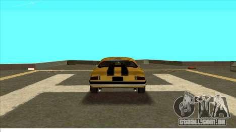 Chevrolet Camaro Z28 Bumblebee para GTA San Andreas vista direita