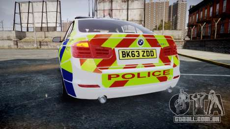 BMW 335i 2013 Central Motorway Police [ELS] para GTA 4 traseira esquerda vista