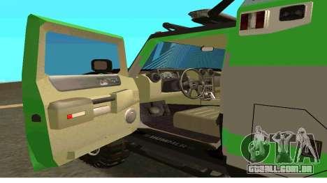 Hummer H2 Ratchet Transformers 4 para GTA San Andreas traseira esquerda vista