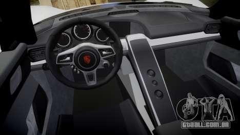 Porsche 918 Spyder 2014 para GTA 4 vista interior