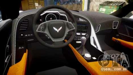 Chevrolet Corvette Z06 2015 TireBr3 para GTA 4 vista interior