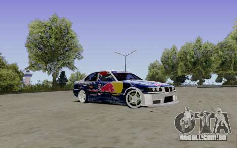 BMW E36 Red Bull para GTA San Andreas vista direita