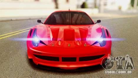 Ferrari 62 F458 2011 para GTA San Andreas vista interior