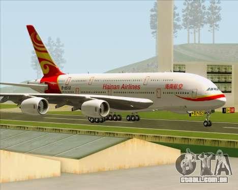 Airbus A380-800 Hainan Airlines para GTA San Andreas vista interior