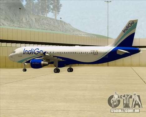 Airbus A320-200 IndiGo para GTA San Andreas vista interior