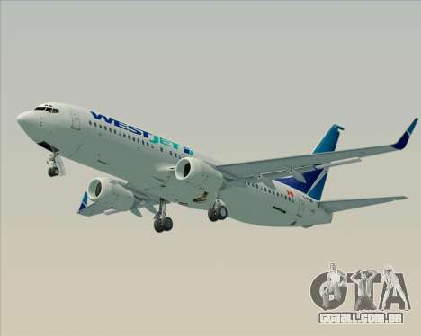 Boeing 737-800 WestJet Airlines para GTA San Andreas traseira esquerda vista