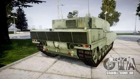 Leopard 2A7 EU Green para GTA 4 traseira esquerda vista