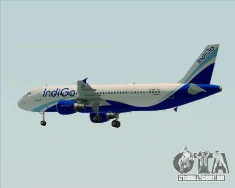 Airbus A320-200 IndiGo para GTA San Andreas vista traseira