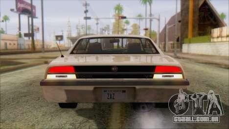 GTA 5 Vigero para GTA San Andreas traseira esquerda vista