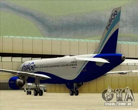 Airbus A320-200 IndiGo para GTA San Andreas vista superior