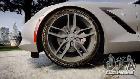 Chevrolet Corvette C7 Stingray 2014 v2.0 TireMi2 para GTA 4 vista de volta