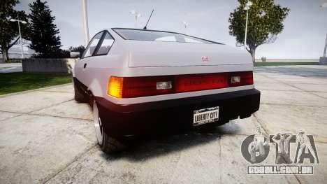Dinka Blista Compact Sport para GTA 4 traseira esquerda vista