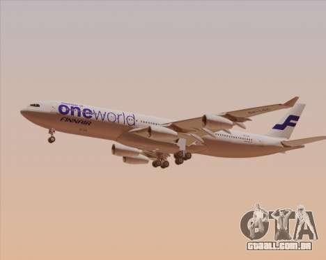 Airbus A340-300 Finnair (Oneworld Livery) para GTA San Andreas traseira esquerda vista