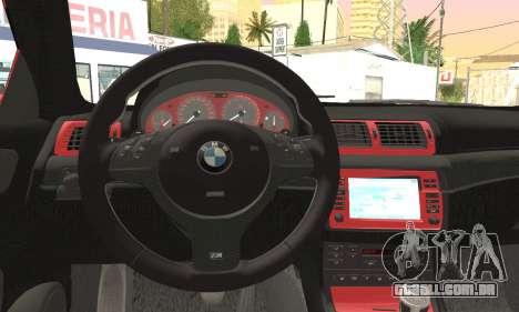 BMW M3 Coupe Tuned Version Burnout para GTA San Andreas vista direita