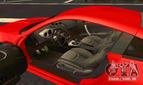 Nissan 350Z Tune para GTA San Andreas vista interior