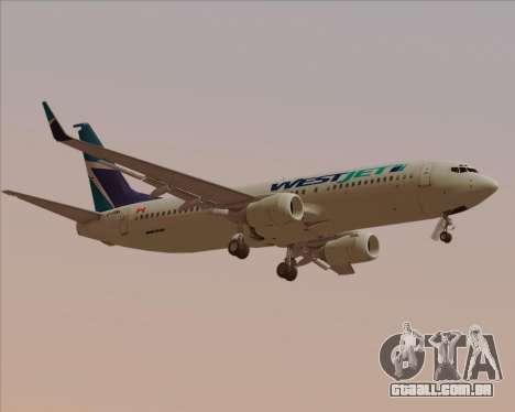 Boeing 737-800 WestJet Airlines para GTA San Andreas vista direita