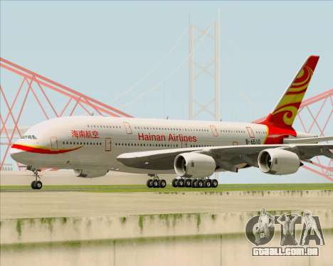 Airbus A380-800 Hainan Airlines para GTA San Andreas esquerda vista