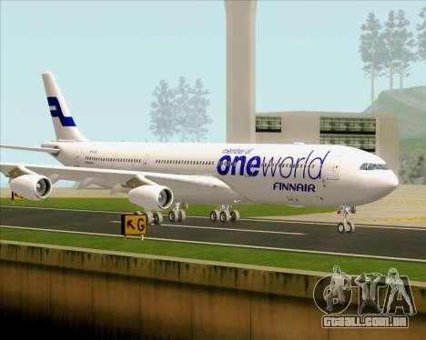 Airbus A340-300 Finnair (Oneworld Livery) para GTA San Andreas vista superior